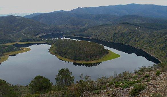 Meander, River, Nature, Water, Landscape, Spain