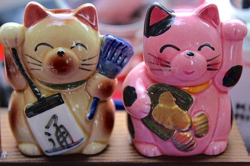Cat, Maneki Neko, Manekineko, Waving Cat, Japanese