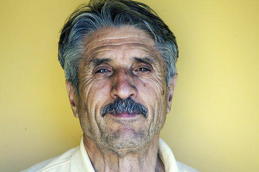 Man, Elderly, Face, Head, Hair, Mustache, Person