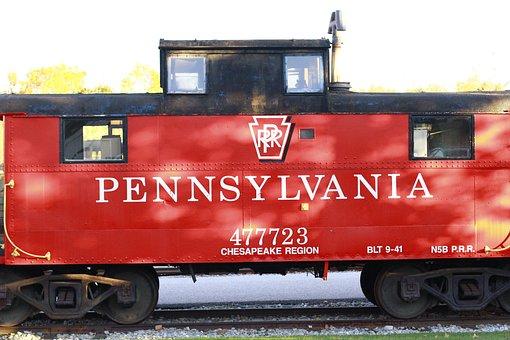 Train, Red, Railroad, Pennsylvania, Usa, Old, Retro
