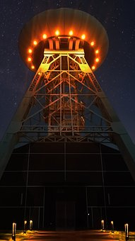 Ufo, Night, Headframe, Bill, Ruhr Area