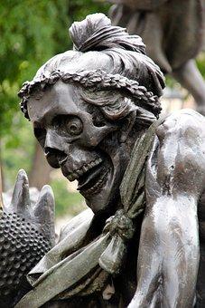 Skeleton, Monument, Figure, Statue, Sculpture, Metal