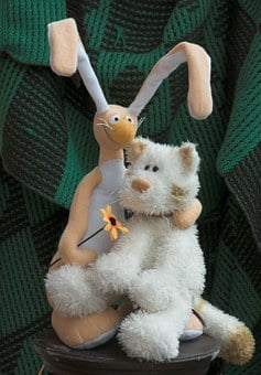Rabbit, Cat, Stuffed Animal, Smiling, Funny, Toy