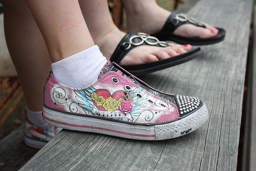 Feet, Girls, Shoes, Sandals, Summer, Beach, Flip-flops