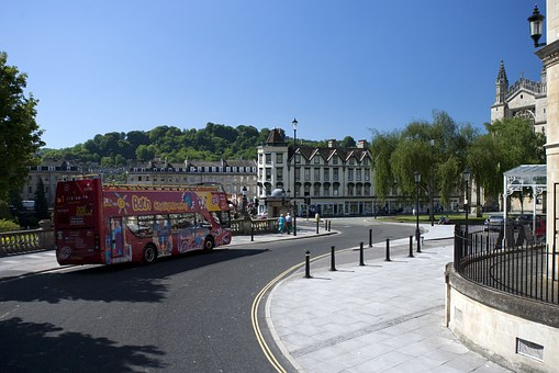 Bath Abbey, City, Centre, Tour Bus, Sunshine, Road