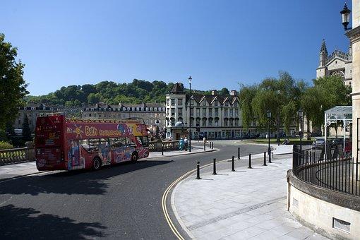 Bath Abbey, City, Centre, Tour Bus, Sunshine, Road