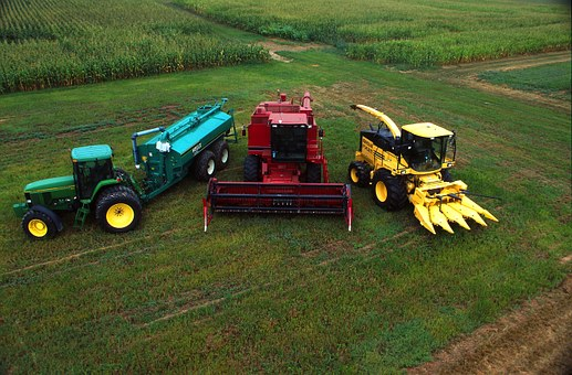 Beltsville, Maryland, Field, Corn, Tractor, Combine