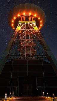 Ufo, Night, Headframe, Bill, Ruhr Area