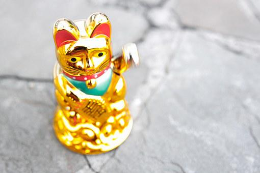 Maneki Neko, Waving Cat, Manekineko, Wave, Lucky Charm