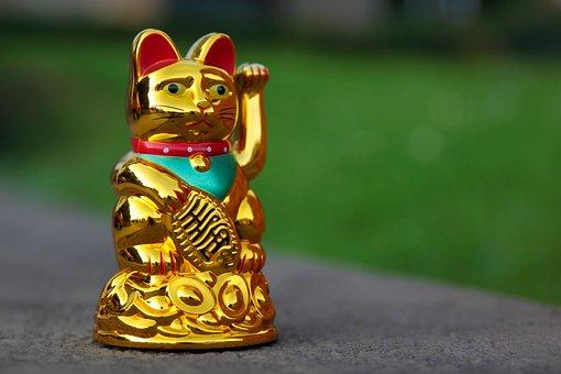 Maneki Neko, Waving Cat, Manekineko, Wave, Lucky Charm