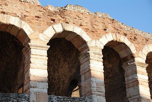 Arena Di Verona, Amphitheater, Arches, Stone Wall