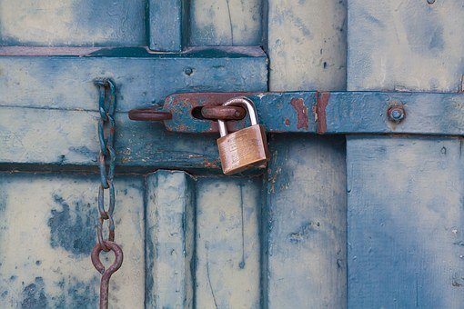 Bolt, Closure, Door, Wood, Green, Turquoise Blue, Metal