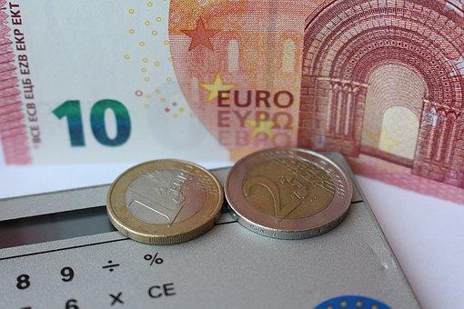 Euro, Count, Calculator, Dollar Bill, Coins
