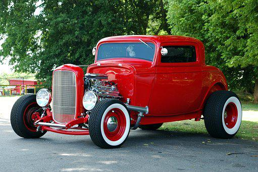 Red Hot Rod, Car, Retro, Customized, Restored, Vintage