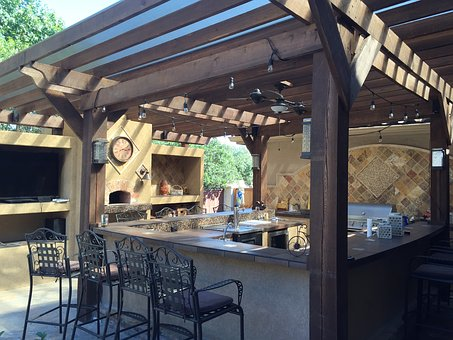 Patio Cover, Outdoor Kitchen, Tile, Copper, Patio