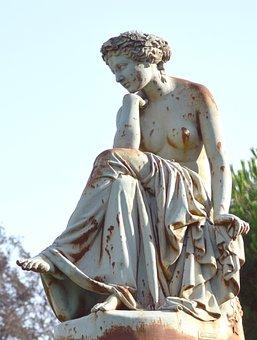Statue, Cast Iron, Reverie, Count Nogent, 1867, Orleans