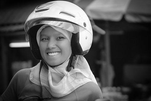 Helmet, Girl, Muslim, Hijab, Smile, Female, Face, Happy