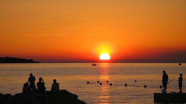 Sunset, Sea, Istria, Fazana, Croatia, Mediterranean