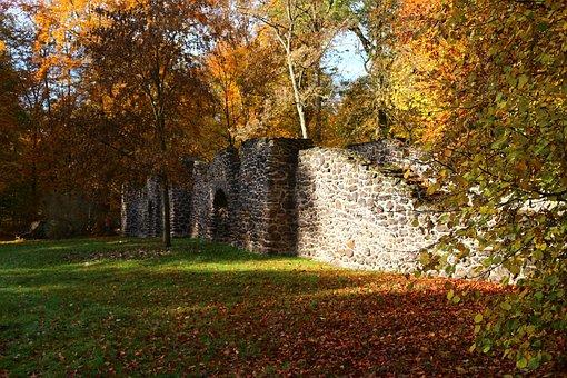Ruin, Stone Wall, Autumn, Fall Color, Feilenmoos