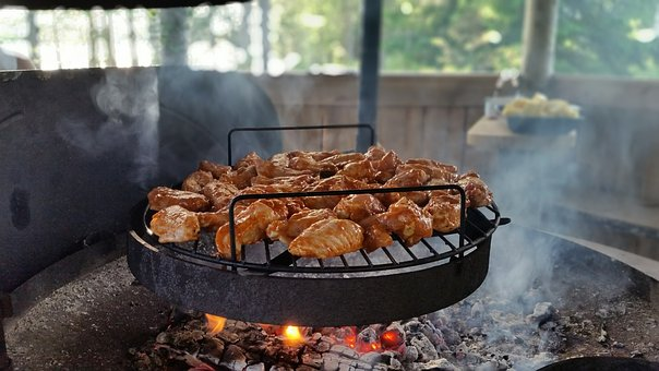 Barbecue, Meat, Grill, Embers, Cooking, Flame, Outdoors