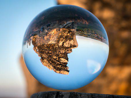 Glass Ball, Devil's Wall, Face, Rock Face, Resin