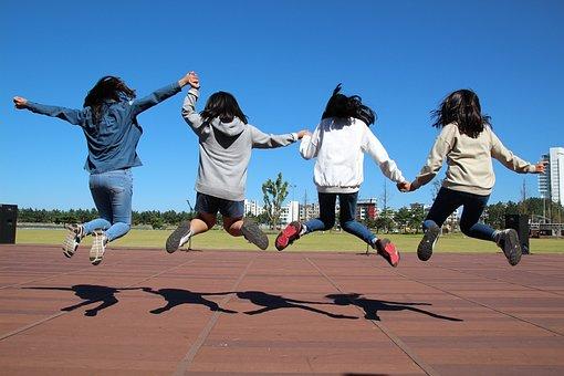 Run, Jump, Girl, Children, Hooray, Sky, Meadow, Fun