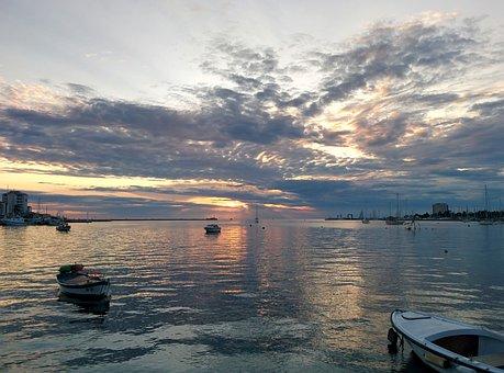 Sunset, Umag, Croatia, Sea, Istria, Boats, Costa