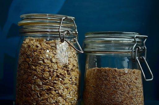 Cereals, Spelt Flakes, Oatmeal, Jar, Glass, Closure