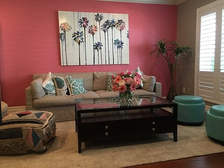 Pink Wall, Living Room, Modern, Pink, Interior, Style