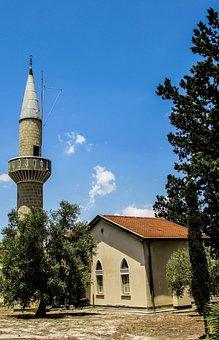 Cyprus, Menogeia, Mosque, Minaret, Islam, Muslim