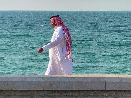 Seashore, Man, Walk, Arab, Muslim, Clothing, Male
