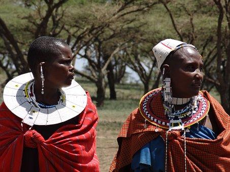 Masai, Visit To The Masai, Women, Necklaces, Ethnic