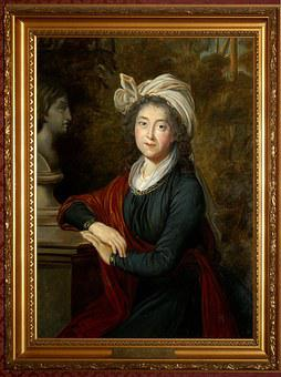 Portrait, Countess, Antique, Painting, Historical, Old