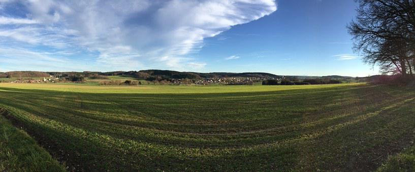 Fields, Reported, Wide, Landscape, Panorama, Bavaria