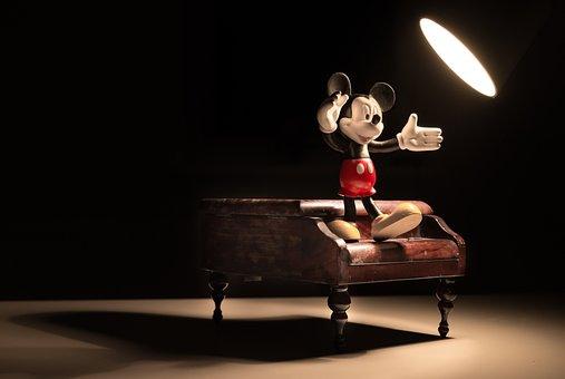 Mickey, Spotlight, Piano, Miniature, Figurine, Small