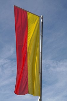 Flag, Yellow, Red, Flagpole, Swabia, Swabia Bavaria