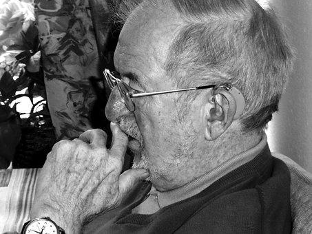 Old Man, Grandpa, Retirement, Black And White, Person