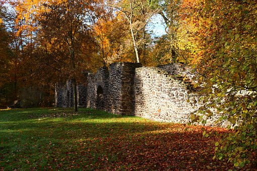 Ruin, Stone Wall, Autumn, Fall Color, Feilenmoos