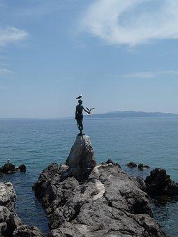 Statue, Girl, Seagull, Landmark, Opatija, Abbazia