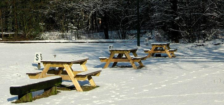 Picnic Tables, Winter, Snow