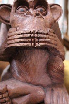 Monkey, Sculpture, Carving, Speaking, Speak No Evil
