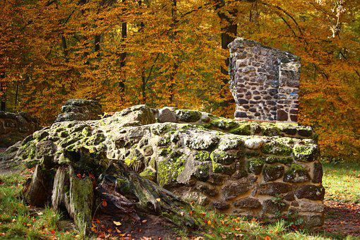 Ruin, Autumn, Stone Wall, Grotto, Feilenmoos, Rasenerz