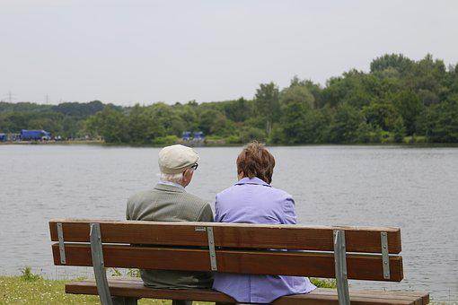 Peace, Couple, Old, Retired, Sitting, Bench, Lake, View