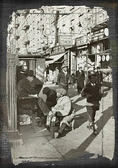 Vintage, Photo, Old, Street, Shoe, Shine, Shoes, People