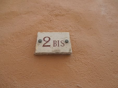 House Number, Two, French, 2b, Board, Wall