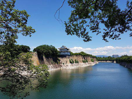 Japan, Osaka Castle, Walls