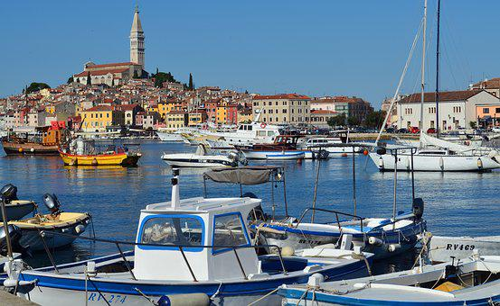 Rovinj, Croatia, Port, Historic Old Town, Water, Boats