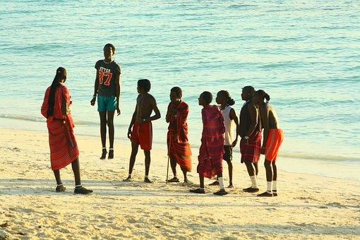 Zanzibar, Masai, Beach, Young People, Training, Jump