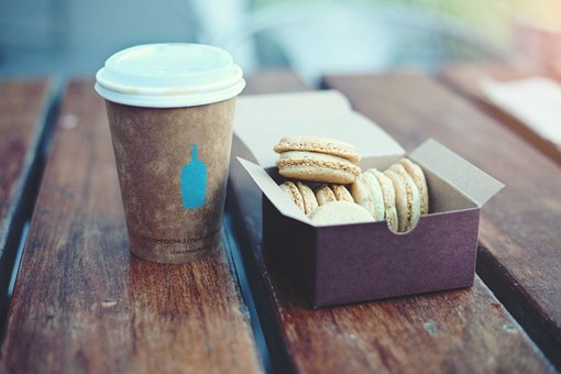 Wood, Table, Coffee, Lid, Cup, Desserts, Cookies, Box