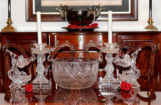 Christmas Centerpiece, Punch Bowls, Angels, Candles